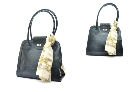 Black handbag with beige silk scarf isolated on white  Stock Photo
