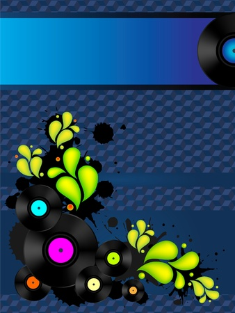 Abstract Music Backgrounds  with vinyl records for retro party flyer Vector