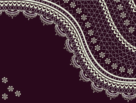 black lace: Vintage background decorated with lace and flowers
