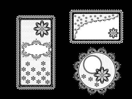 Set of vintage lace backgrounds with frame decorated with lace and flowers  Stock Vector - 13084046