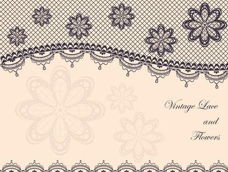 Vintage background decorated with lace and flowers