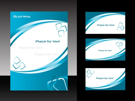poster template: template for business design  folder and set of  business card Illustration