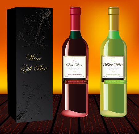 vertica: Set of red and white wine with gift box on a wood table and colorful background
