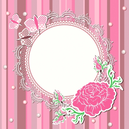 Vintage pink background with flowers and lace frame