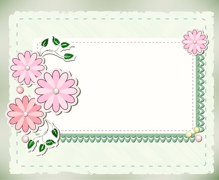 Vintage background with flowers and lace Vector