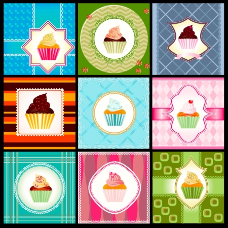 Set of vintage card with cupcakes in retro syle