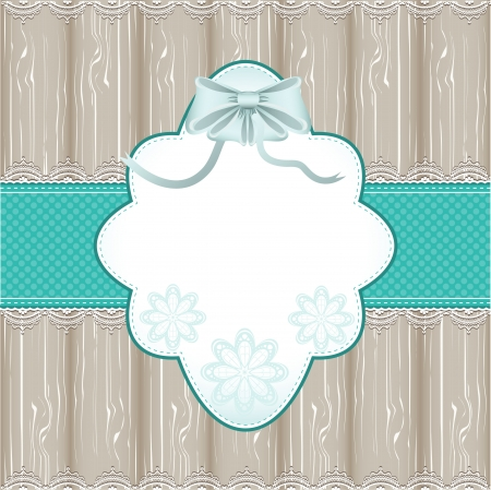 Vintage blue frame with wood background and lace Vector