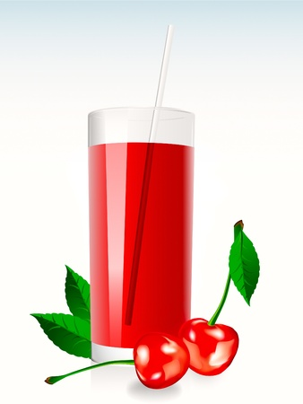 A glass of cherry juice eith leaves and berrys