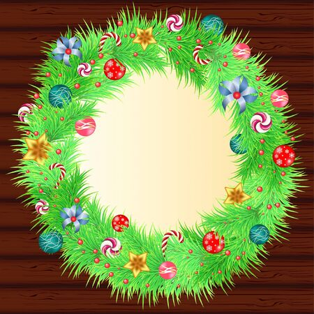 Christmas wreath with baubles and christmas tree on wood background Vector