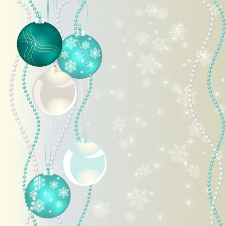 Christmas bubbles on abstract background with snowflakes Vector