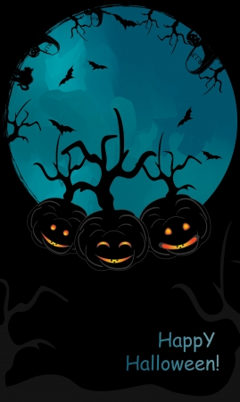 text area: Halloween pumpkin  backgound with trees and black text area