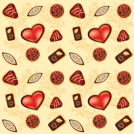 Vector illustration of seamless pattern with chocolate candy Vector