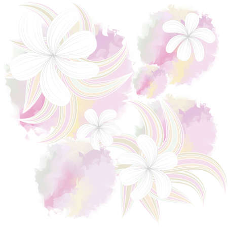 Seamless pattern with Beautiful flowers, Watercolor painting Vector