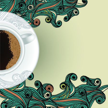 cup of coffee on abstract wave backgorund Vector