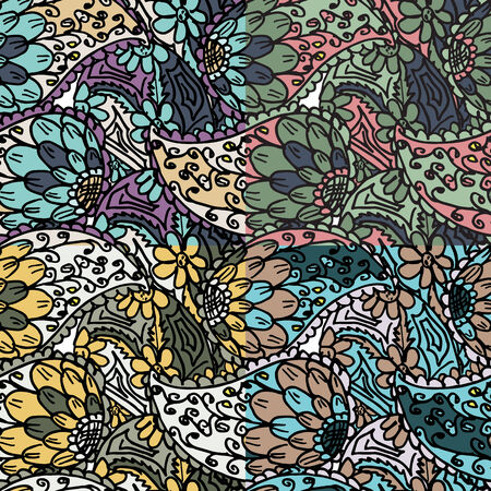 etnic: Vector seamless pattern set with abstract ethnic flowers