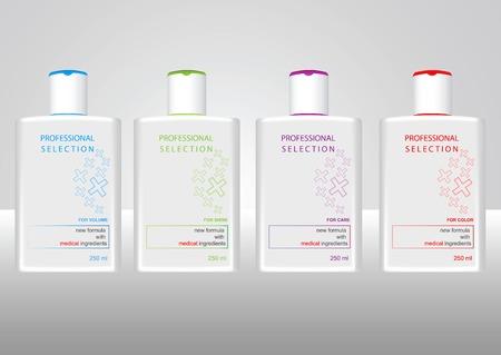 gel douche: Bouteilles avec des �tiquettes d'�chantillon pour gel douche ou du shampoing Illustration