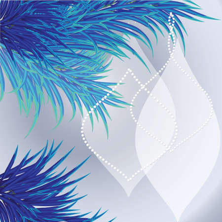 Christmas card background  with a blue tree and balls Vector