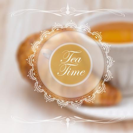 Menu design template with tea cup and lace napkin