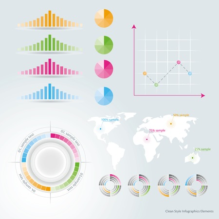 net trade: Business Infographic design elements  on the grey background. Circle, chatrt. map, graphic