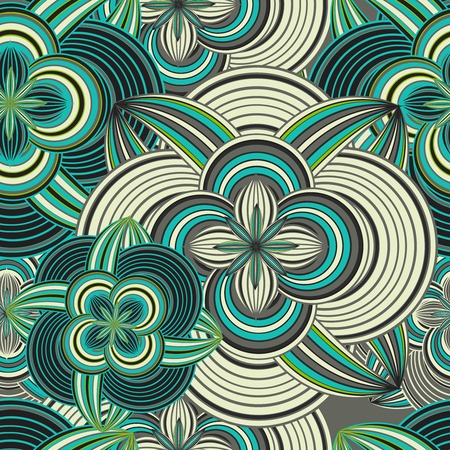 ethnical: Seamless doodle ethnical flower background in vintage color style
