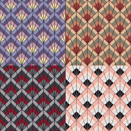 Art Deco vintage retro style seamless pattern texture in four color variations