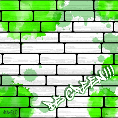 graphiti: Graffiti wall background with green watercolor splashes, urban art