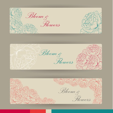 whimsy: Set of horizontal banners with flowers in vintage colors