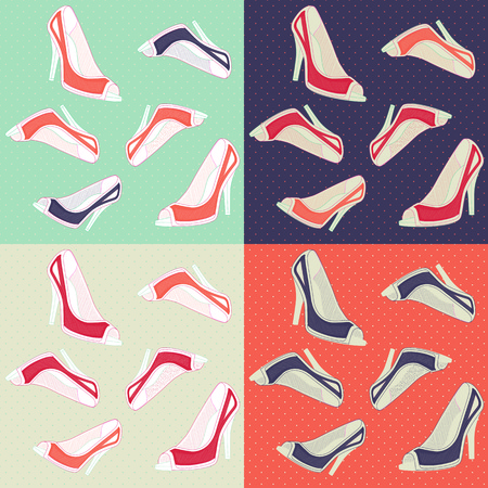 high heels: Seamless ladies retro high heels shoes pattern in four color style Illustration