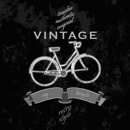 bycicle: vintage grunge  poster with bycicle and typography Illustration