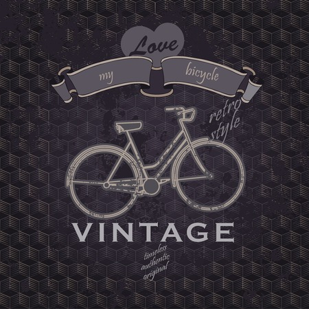 bycicle: retro vintage grunge  poster with bycicle and hipster typography