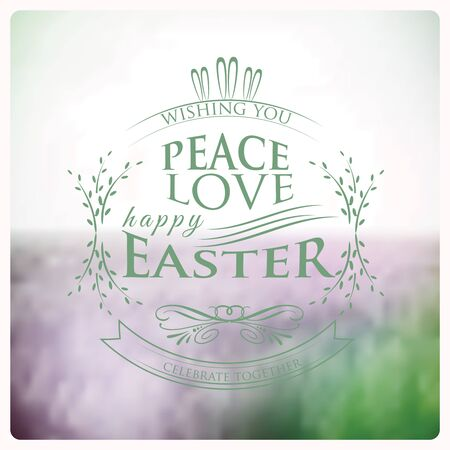 ostern: Happy Easter Typographical on blurred Background vintage retro style