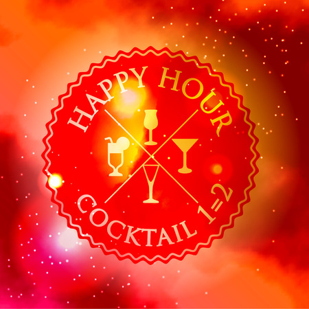 happy hour drink: Retro design Happy Hour drink poster with icon and typography with red galaxy background Illustration
