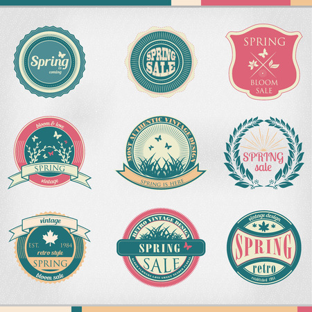 business sign: Set of  business sign graphics and text icon designs vintage colors Illustration