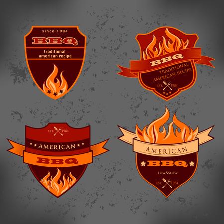 Illustration set of BBQ labels Badge designs Vector