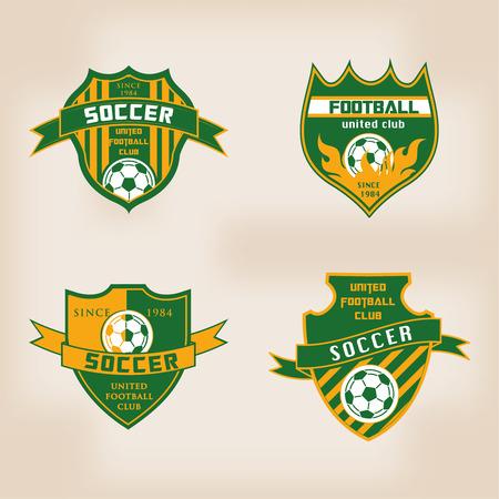 pelotas de futbol: Conjunto de la insignia del f�tbol del f�tbol del logotipo plantillas del dise�o Vectores