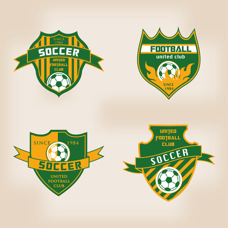 bannière football: Ensemble de Badge de football Logo Modèles de conception Illustration