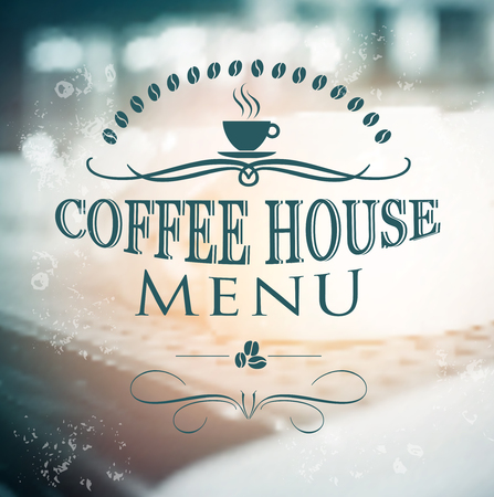 brewing house: Vintage Coffee House menu card on blurred background