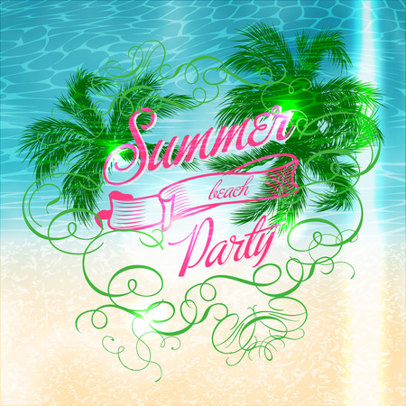Summer beach Party typographic bright poster design Vector