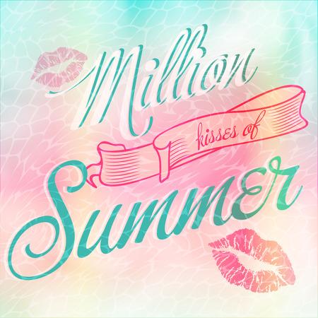 Million Kisses of Summer typographic bright design Vector