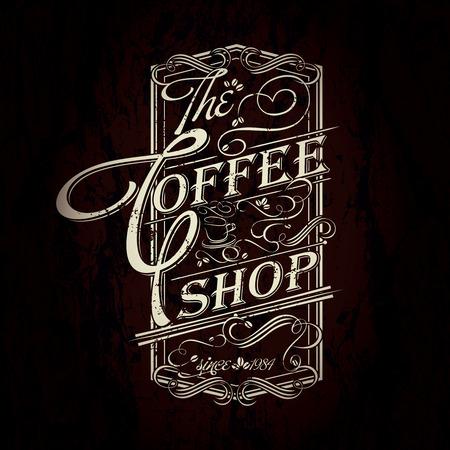 Lettering vintage retro Coffee shop typographic design
