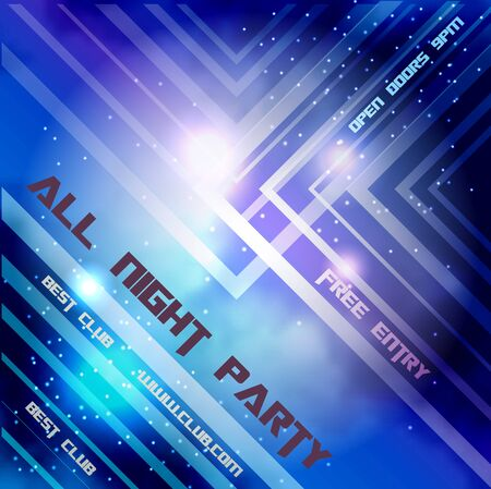 Abstract background with night sky and lights for night disco party evet