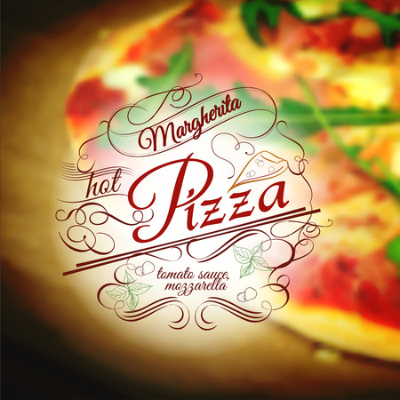 Pizza  margherita design template with ingridients on blurred background Illustration