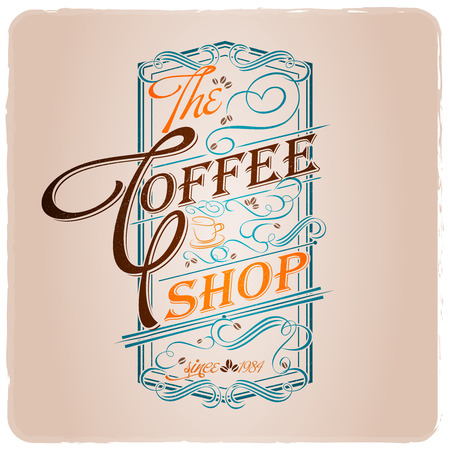 the coffee shop typographic design template vintage style