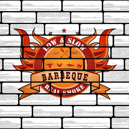 haunch: Vintage Premium Barbecue BBQ Graphic  template on brick background
