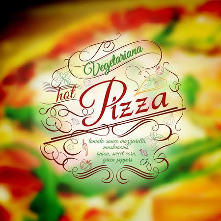 ingredient: vegetariana Pizza menu typography template with hand drawn ingredient