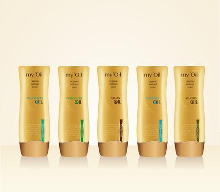 medical shower: Bottles with sample labels for shower gel or shampoo. Argan, macadamia, moroccan, coconut, jojoba oils design Illustration