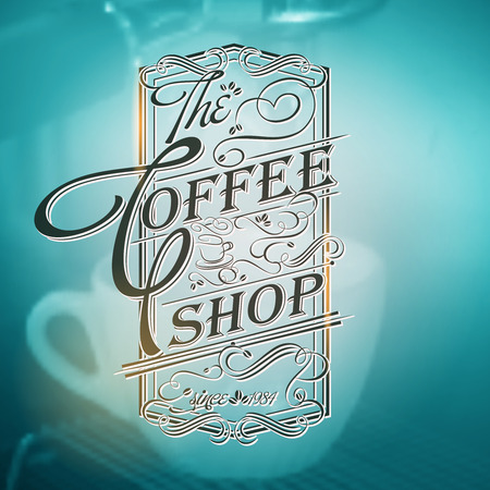 Coffee shop Typography on blurred  cup background menu template Çizim