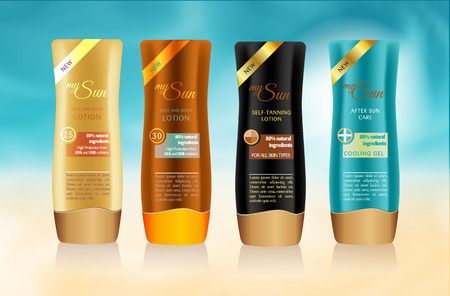 Bottles with sample labels design for Sun protection cosmetics Vectores