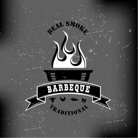 meat grill: BBQ barbecue logo emblem design monochrome Illustration