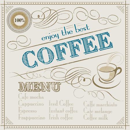 best coffee: Enjoy the best Coffee typography  Restaurant menu vintage design